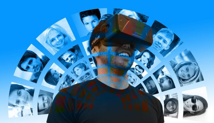 man-wearing-head-mounted-display-to-watch-vr-content